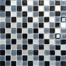 Black Grey Glitter Silver Glass Wall Border Splashback Mosaic Tiles Sheet MT0014