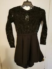 Papaya Dress Black Back Lace Cocktail Fit and Flare Size Small Pre-owned