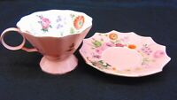 Meritage Vologne Pink Scalloped Edge  Tea  Cup and Saucer Floral Print