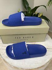 Designer Ted Baker Men's Blue Sliders Flip Flops UK11 EU45 US12 BNWB RRP £49