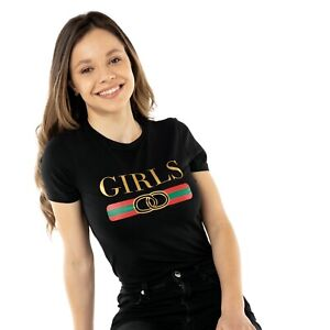 GIRLS Women's T-Shirt. White or Black TUMBLR Fashion Top Slogan Casual Gifts