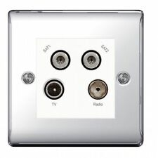 Chrome 1-Gang TV/Coaxial Socket Home Electrical Fittings