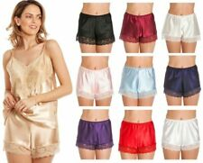 British Made Retro Satin Lace Detail Silky french knicker Short briefs 10 to 28
