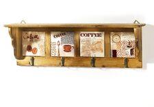 Wandregal Holz/Keramik 4 Haken braun Kaffeedekor Wandablage Küchenregal Landhaus