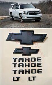 7PCS 2015-2020 Chevrolet Tahoe LT All Black Bowtie Emblems Front & Rear
