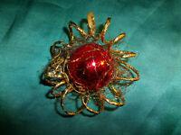 alter Christbaumschmuck Kugel rot gold Draht Goldspirale Vintage Weihnachten CBS