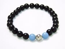 Bracelet Black Obsidian Blue Angelite Natural Stone Bead Crystal Chakra Healing