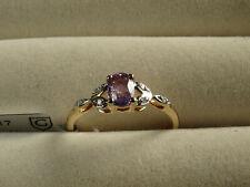 Tanzanian Umba Purple Sapphire V RARE & Diamond 10K Yellow Gold Ring Size N-O/7
