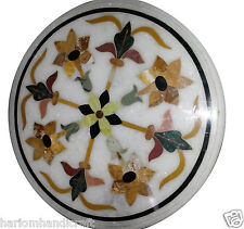 "18"" Marble Coffee Table Top Rare Marquetry Inlay Ornate Eid Ramzan Decor H920"