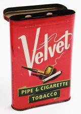 "New listing Vintage Velvet Pipe & Cigarette Tobacco Tin - 3"" x 4 1/2"" x 3/4"""