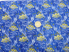 Quilting Fabric Fleurette Yellow Flowers Royal Blue BG Fat Quarters 100% Cotton