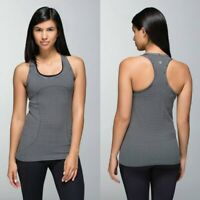LULULEMON Women's 12 Black & Striped SWIFTLY TECH Racerback TANK TOP