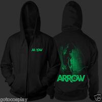 Green Arrow Zip Up Hoodie Cosplay Costume Oliver Queen Ollie Archer Sweatshirt