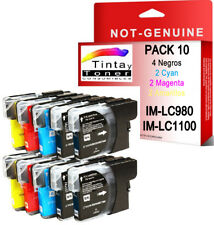 10 COMPATIBLES BROTHER LC1100BK LC980BK LC1100 LC980 C M Y CYAN MAGENTA YELLOW