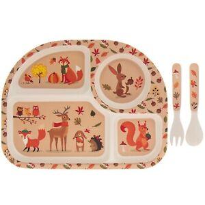Woodland Animals Bamboo Children Kids Snacks Lunch Tableware Dining Eating Set