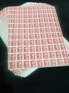 99x 1st Class Stamps First Unfranked Used With Gum Off Paper FV £85