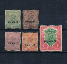 KUWAIT 1923-24 sc#1,2,4,6,15 MH LOT 10R(wmk39) INDIA POSTAGE OVP BRITISH COLONY