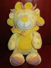 "14"" KELLYTOY Yellow LION Plush Stuffed Animal Baby Toy Stripes Stars Purple Soft"