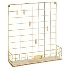 Square Gold Metal Wall Hanging Home Decor Letter Storage Photo Note Display Rack