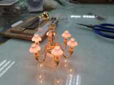 Dollhouse Miniature 6 Arm Brass Chandelier - 12v Light Hand Made