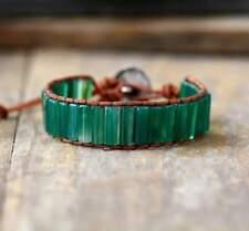 Green Onyx Boho Leather Wrap Bracelet Handmade Jewellery