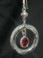 Sterling Silver 925  Drop Hoop Earrings with Red Stone