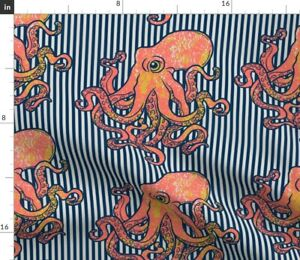 Ocean Octopus Nautical Coral Limited Color Spoonflower Fabric by the Yard