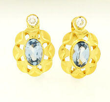 18Carat Yellow Gold Blue Topaz & Simulated Diamond Stud Earrings (10x14mm)