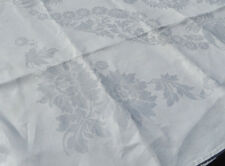Vtg Antique Irish LINEN Double Damask Tablecloth White Sunflowers Daisy 72X107