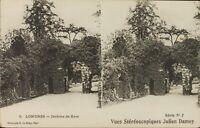 UK Inglaterra Londres Jardines Kew ,Estéreo Tarjeta Postal Héliotypie Aprox 1920