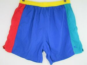 Vintage Hobie Swim Trunks Blue Red Yellow Green Medium Large Mesh Lined