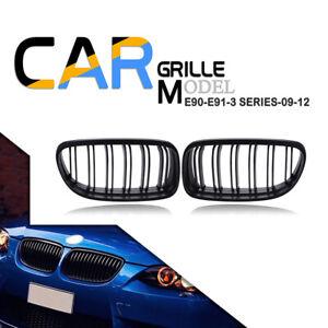 Kidney Grill Matte Black Dual Slat Grille For BMW E90 E91 09-11 325i 328i 335i