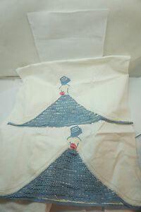 VINTAGE PILLOWCASE CROCHETED 65in LONG SOUTHERN BELL BLUE WHITE PILLOW CASE