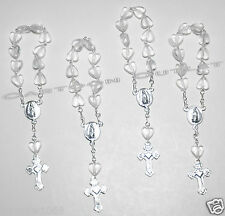 50 X MINI ROSARY BAUTIZO ROSARIO COMMUNION WEDDING CLEAR HEART SILVER RECUERDO