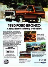"1980 Ford Bronco 4x4 photo ""New Advance in 4-Wheelers"" promo print ad"