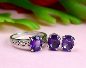Natural Purple Amethyst Gemstone Jewelry 925 Sterling Silver Ring Earring Set