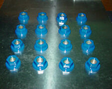 (16)10mm x 1.25 ATV Lug Nuts Mirror Blue Powder Coated Honda Yamaha Kawasaki