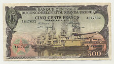 Belgian Congo 500 Francs 1-11-1957 Pick 34 VF VERY FINE Circulated Banknote
