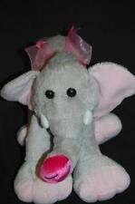 """Grey Elephant Big Pink Feet Ears BOW 10"""" FINE TOY PLUSH STUFFED ANIMAL LOVEY"""