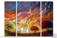 Metal Wall Art Set Abstract Trees Sculpture USA Made Painting Magic Sunset