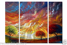 Metal Wall Art Set Abstract Trees Sculpture USA Made Painting Magic Sunset