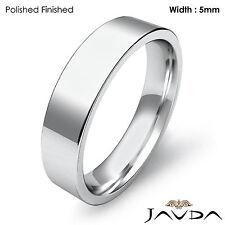 Wedding Band 5mm 18k White Gold Comfort Fit Women Pipe Cut Ring 6.8gm Sz 7-7.75