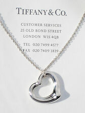 "Tiffany & Co Elsa Peretti 22mm Open Heart Diamond Silver Pendant 16"" Necklace"