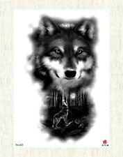 """US SELLER, forest tree wolf black large 8.25"""" temporary arm tattoo body art"""