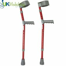 Pair of Red Paediatric Crutches Height Adjustable Childrens Kids Walking Aid
