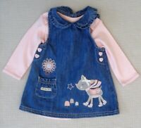 Baby Girls Embroidered Denim Pinafore Dress with NEW Pink Bodysuit 3-6 months
