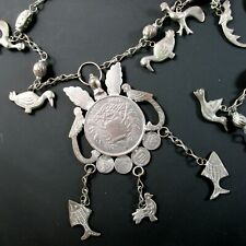 Vtg Guatemalan Chachal Coin Milagro Charms Necklace Peso 900 Silver 167.3 grams