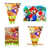 10 X Super Mario Party Flags Banner. Super Mario Birthday Party Decorations