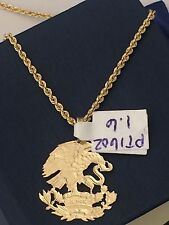 14K Yellow Gold  Mexico Mexican Shield Eagle Pendant 18 inch Hollow Rope Chain