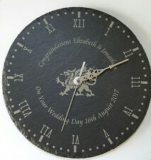 Slate Clock Welsh Dragon Engraved Wedding Gift